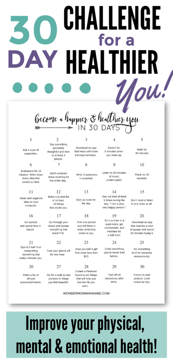 This 30day challenge is perfect for setting up healthy habits for all aspects of your health I love that the article includes resources to help you focus on specific heal...