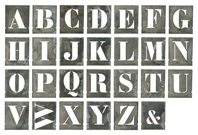 French Zinc Alphabet   Stencils, S/27