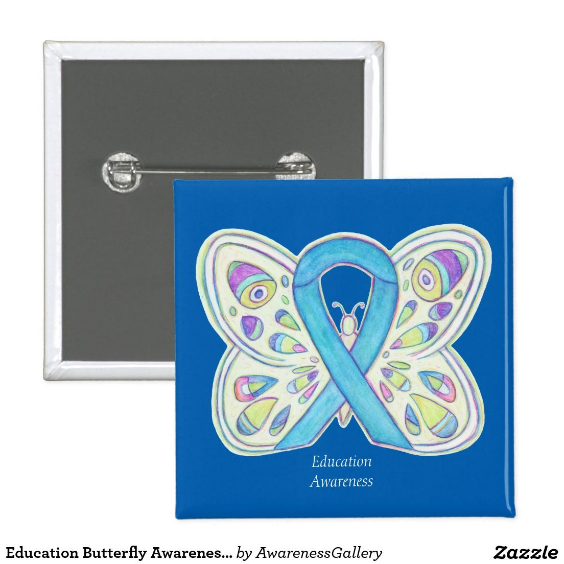 Education butterfly awareness ribbon art pin blue awareness education butterfly awareness ribbon art pin biocorpaavc