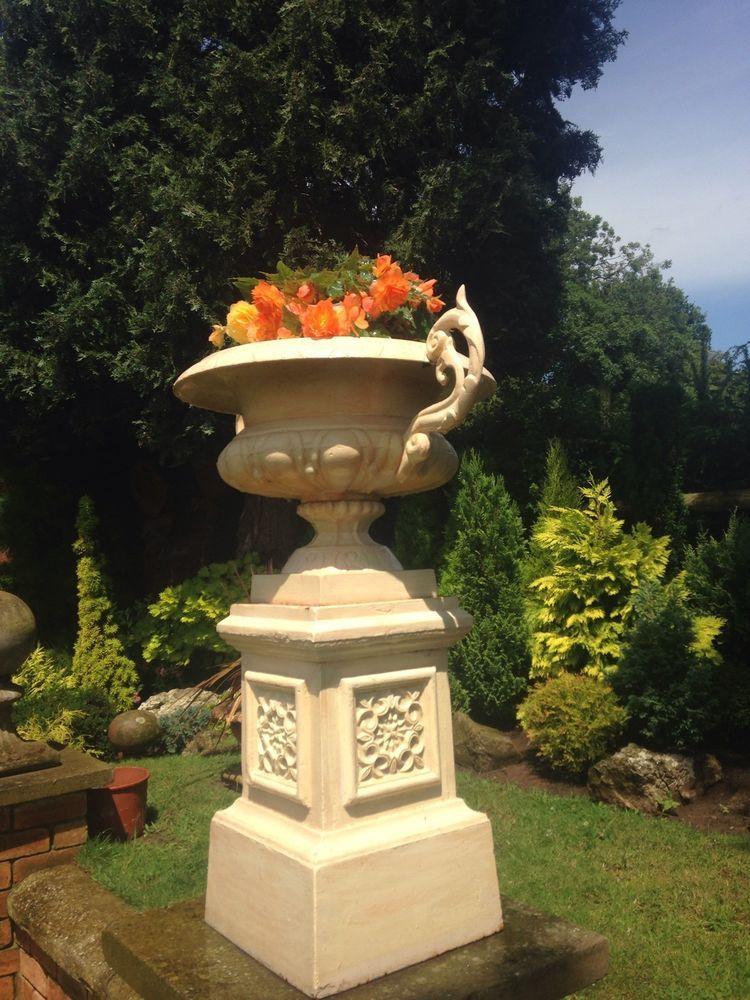 A Stunning Pair Of Cast Iron Urns Reduced Ebay Garden Decor