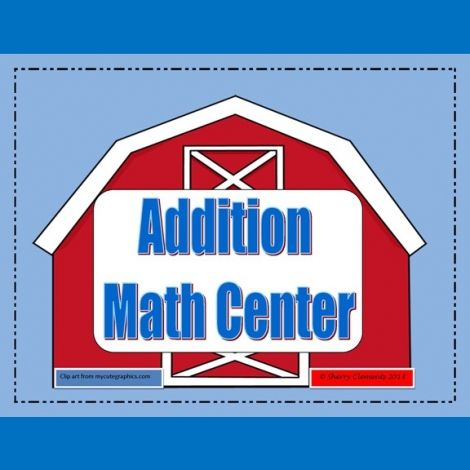 This 26 page math center packet involves students solving addition problems within 5 and is correlated to MCCK.OA.1 and MCCK.OA.5. Print each page, laminate for durability and cut out the number cards and cow and horse counters. http://drclementskindergarten.blogspot.com/