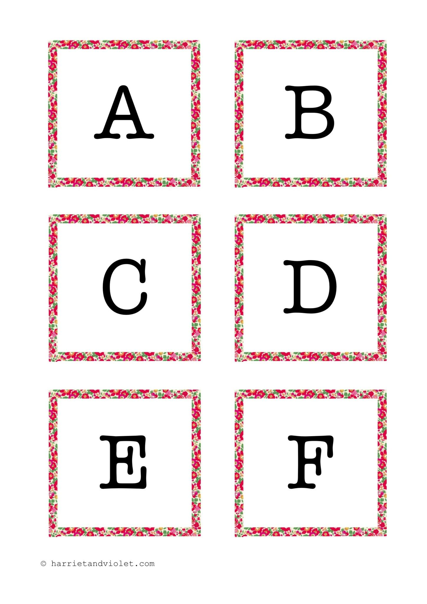 Instant Display Lettering A Z Liberty Fabric Border