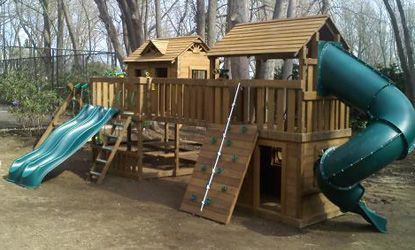 This Creative Playthings Yorktown Wooden Swing Set will ...