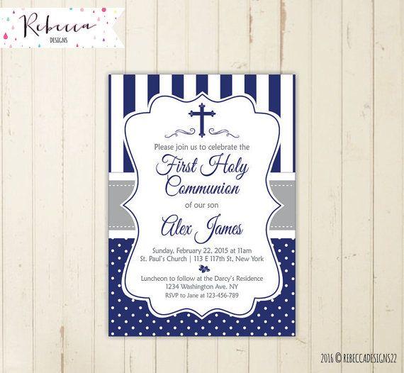 niño primera comunión invitación primera por RebeccaDesigns22