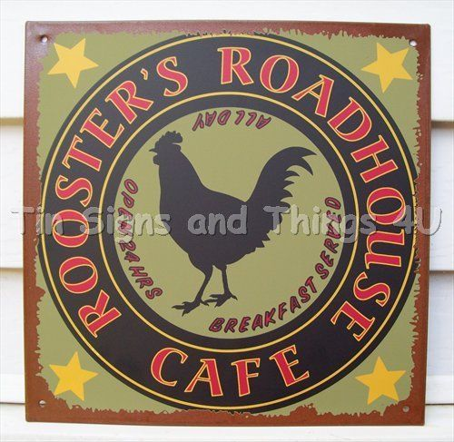 rooster 039 s roadhouse cafe ad tin sign metal wall decor kitchen rh pinterest com