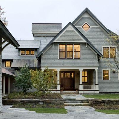Dark soffet gray field white trim dark brown window for Dark brown exterior trim