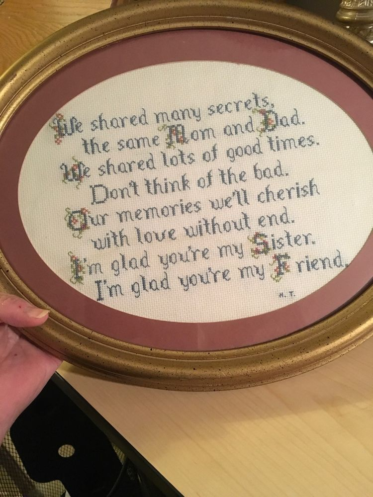Oval Needlepoint sister My Friend Sibling Family Memories Gold Frame ...
