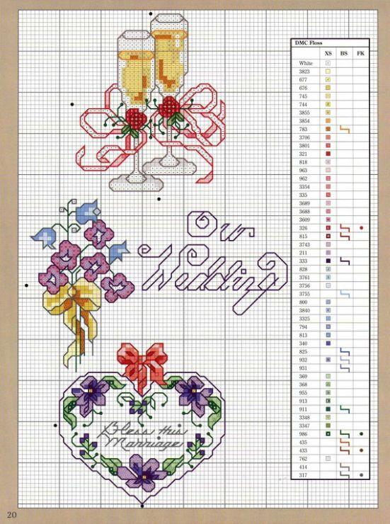 Фотографа, схема вышивки для свадебной открытки