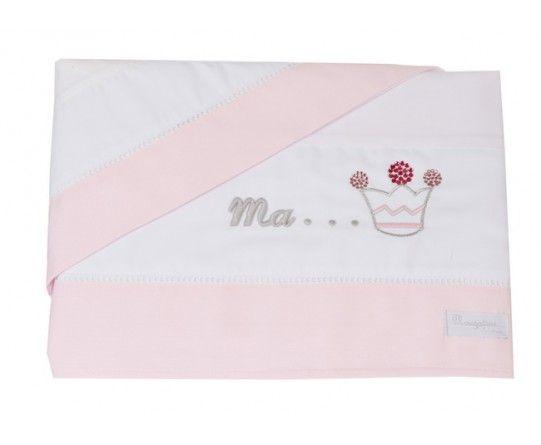 parure de lit b b blanc et rose pale broderie couronne de princesse collection princesse de. Black Bedroom Furniture Sets. Home Design Ideas