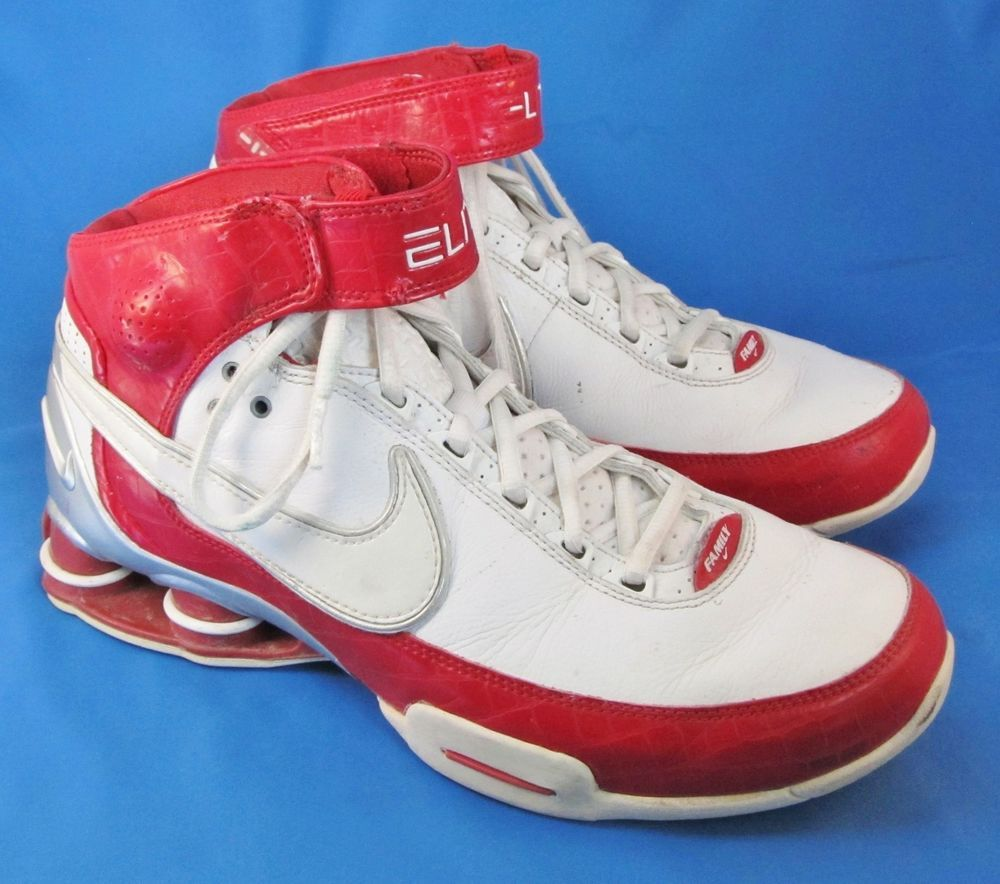 495bcee706627b Men s Nike Shox Elite II TB Shoes Size 8.5 8 1 2 White Red 316904 ...