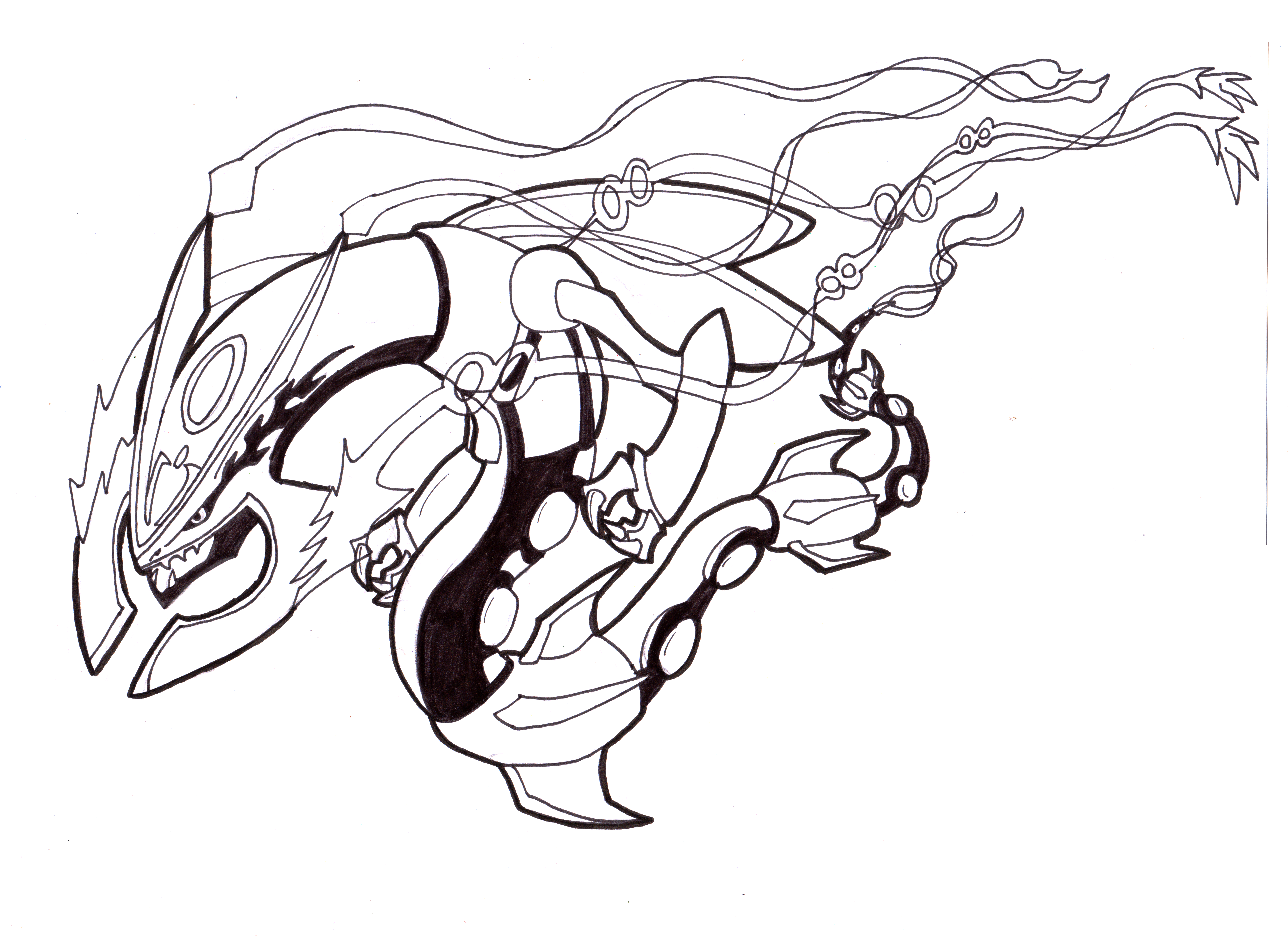 Mega Dragon Mega Rayquaza Fanart Lineart W I P By Lululock71