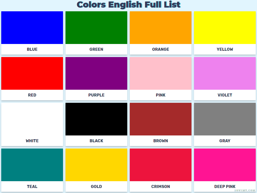 Vocabulary Of The Color Names In English In Full List