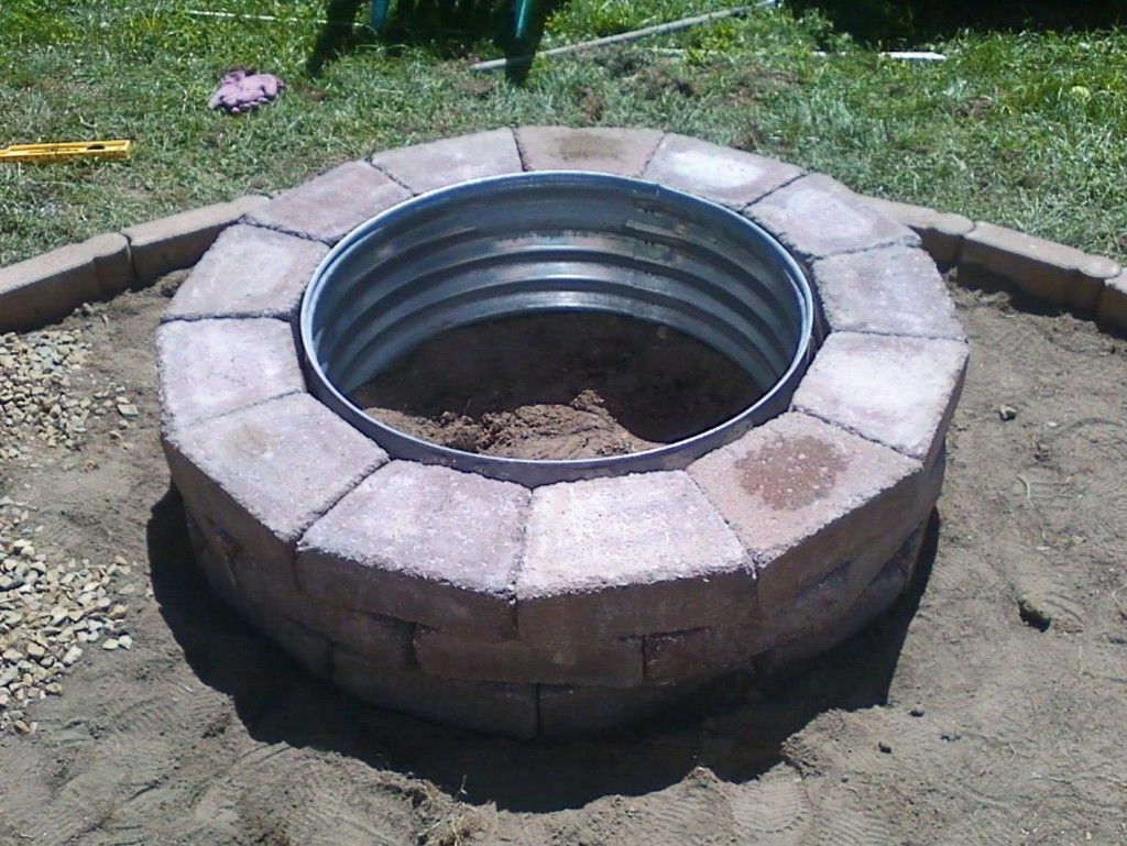 Galvanized and brick fire pit ring