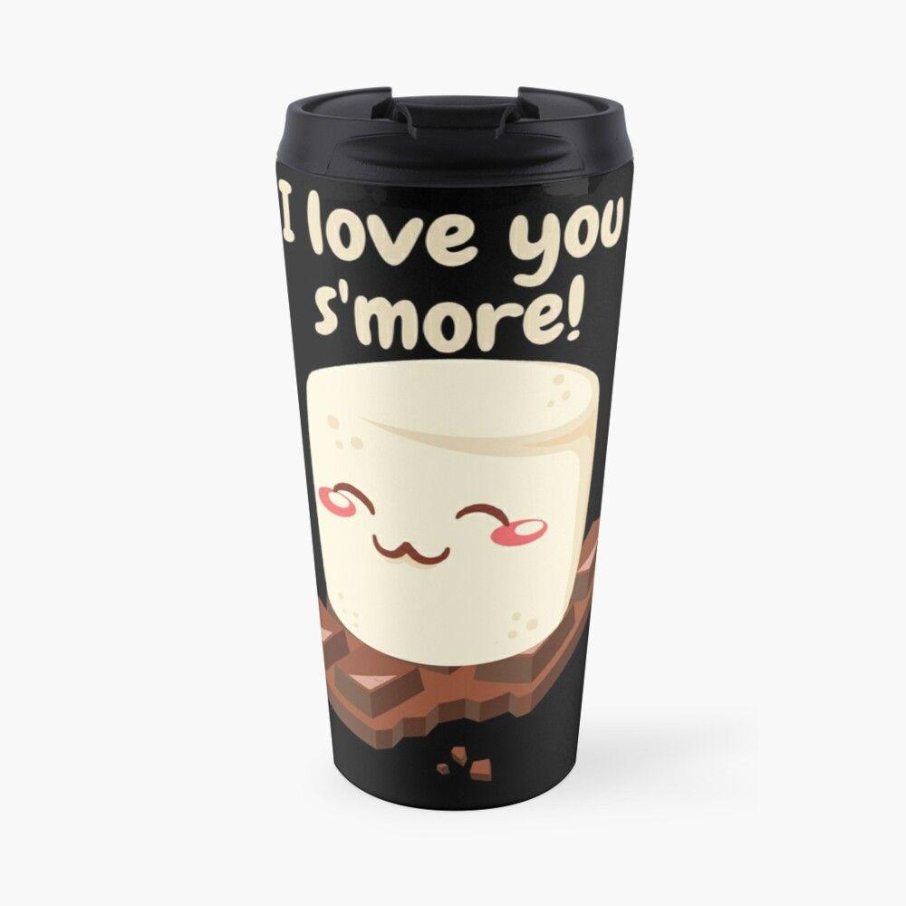 'I Love You S'more Cute Marshmallow Valentine Shirt Sticker' Travel Mug by rbaaronmattie