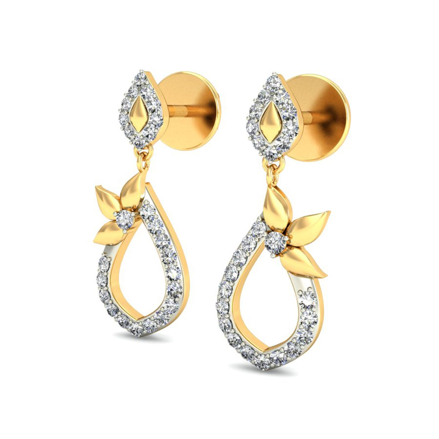 earring daily gold wear solid p with diamonds earrings diamond ct leverback ctw htm carat