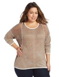 Democracy Women's Plus-Size Long Sleeve Top with Perforated Contrast Sweater