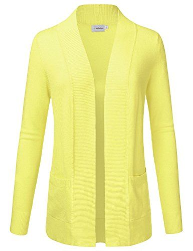 1c1264375b Crafted from soft, stretchy viscose and nylon, this solid knit open front  cardigan with pockets is incredibly comfortable yet stylish for both casual  and ...