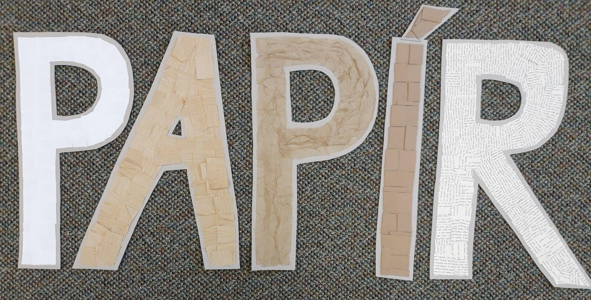 Papír tematický blok písmena vytvořená z různých druhů