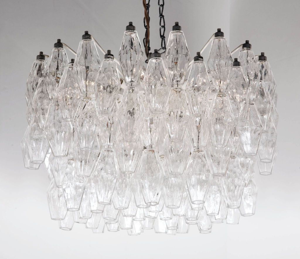 Polyhedral Clear Glass Chandelier By Carlo Scarpa For Venini