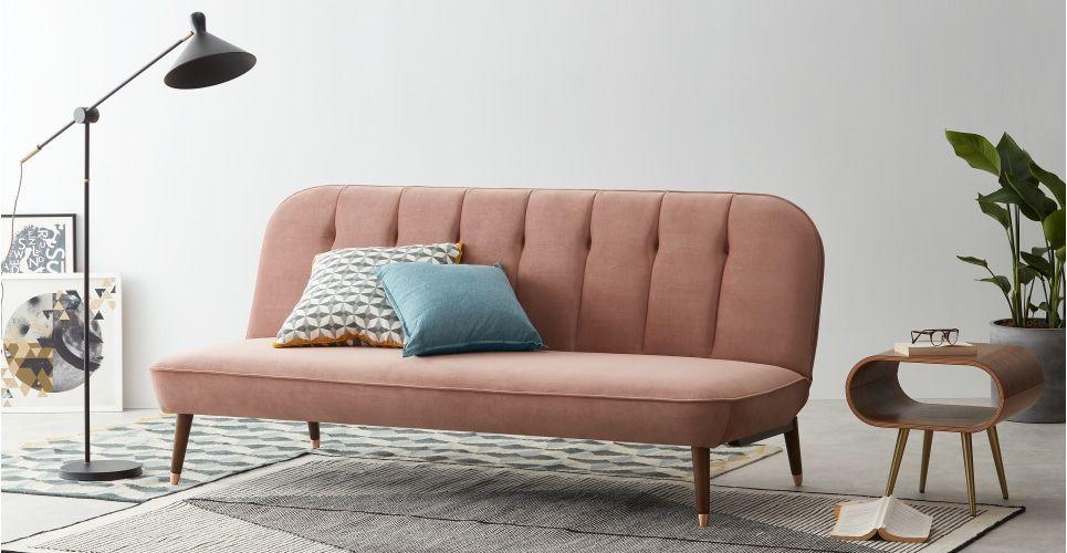 Margot Click Clack Sofa Bed Blush Pink Velvet Velvet Sofa Bed