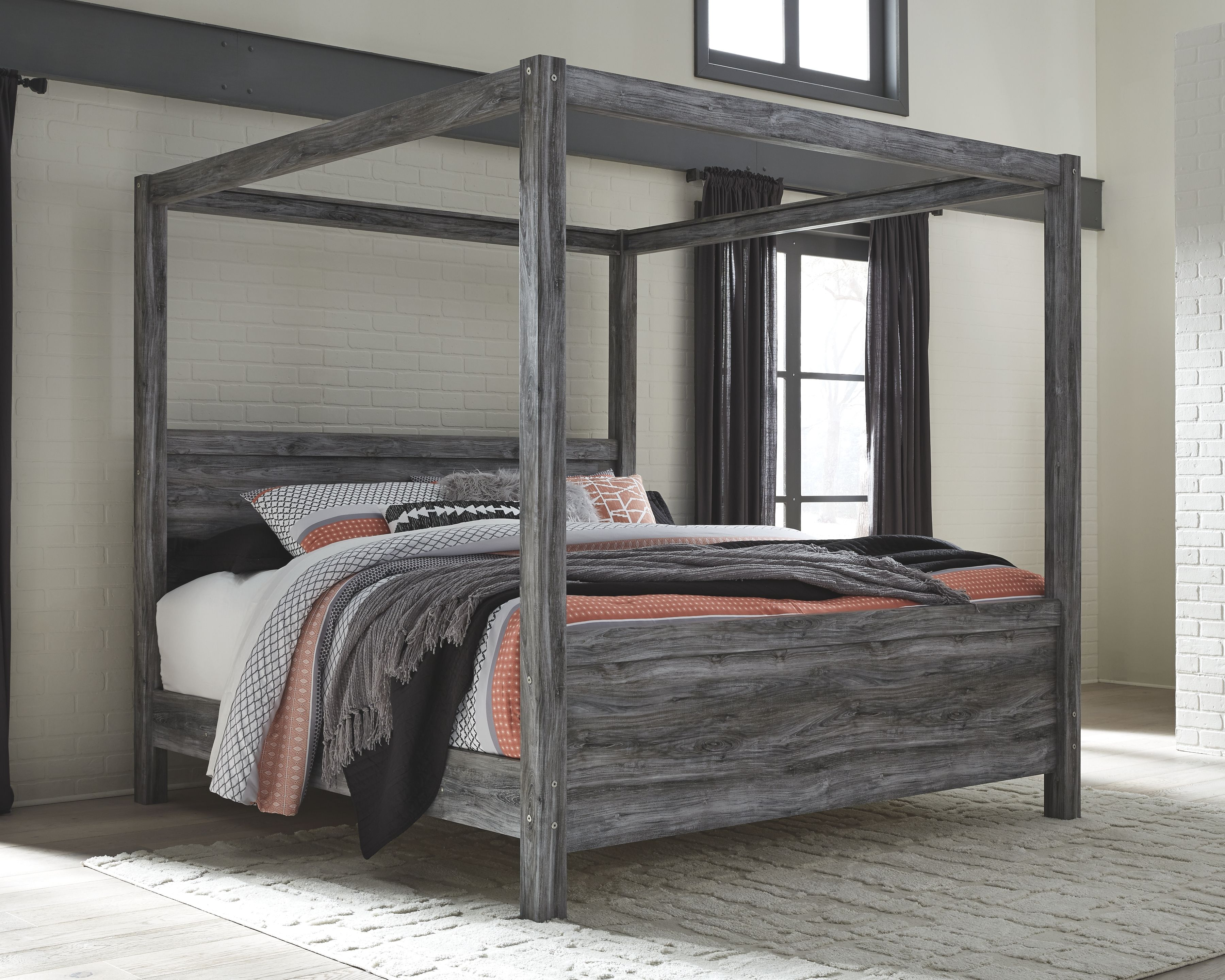 Baystorm King Poster Bed, Gray in 2020 Queen canopy bed