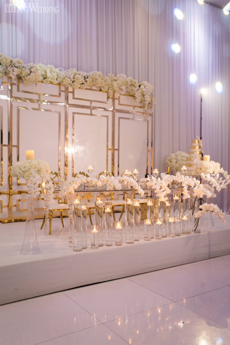Gorgeous White And Gold Wedding With Orchids Gold Wedding