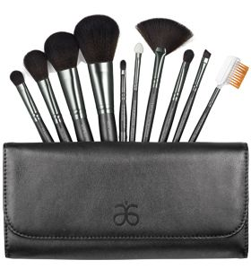 10–piece, professional quality brush ensemble that fits perfectly into this elegant clutch $35