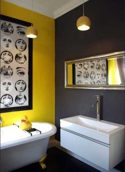 Dark and bright colors bathroom paint | Pinterest | Bathroom yellow ...