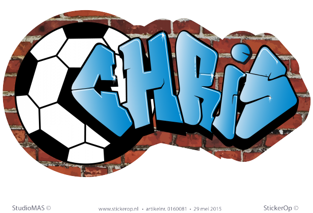 Muursticker Graffiti Met Naam.Muursticker Graffiti Thema Voetbal Chris In 2019 Voetbal