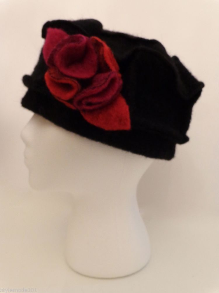 962ceeb9741 PLATANIA HATMAKER Black Wool Hat with Flower Made in Italy  Platania