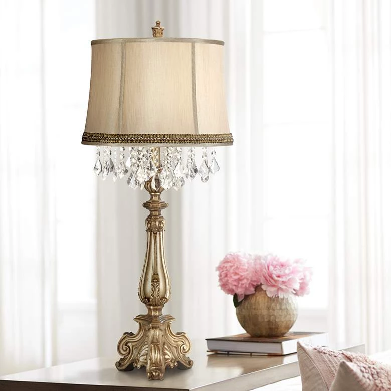 Barnes And Ivy Dubois Console Table Lamp With Wave Trim 175 An Extra 15 Off At Checkout Use Promo Code Console Table Lamp Crystal Table Lamps Table Lamp
