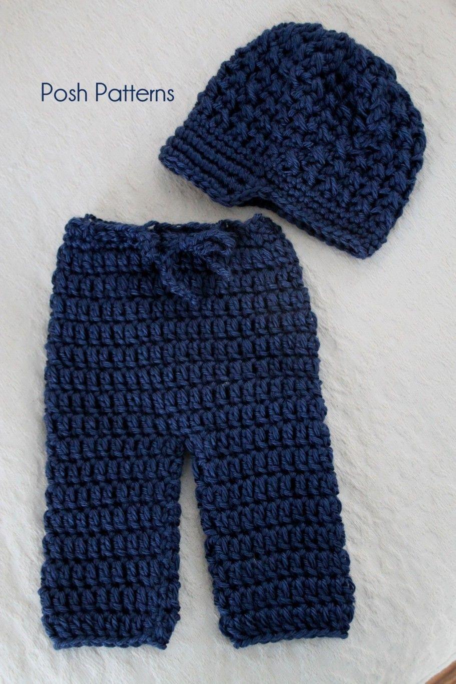 Crochet baby pants and newsboy hat pattern set. #crochetpattern #photographyprop #poshpatterns