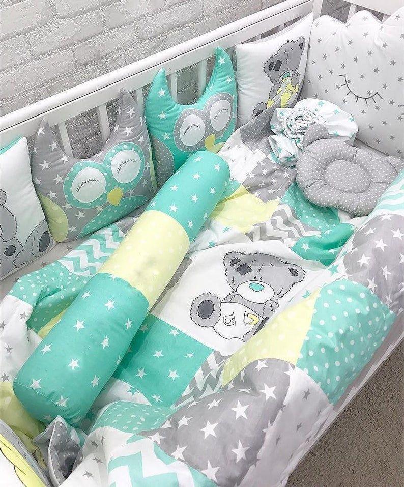 Photo of Babyshower Crib Canopy Bumpers Bumpers Ropa de Cama de Lino Bebé Ducha Regalo Niño Niña Almohadas Nutrir Nueva Mamá Tier Recién Nacido Hoja Manta