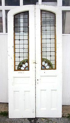 Great Set Antique Stained Glass Double French Doors Eastlake Oak