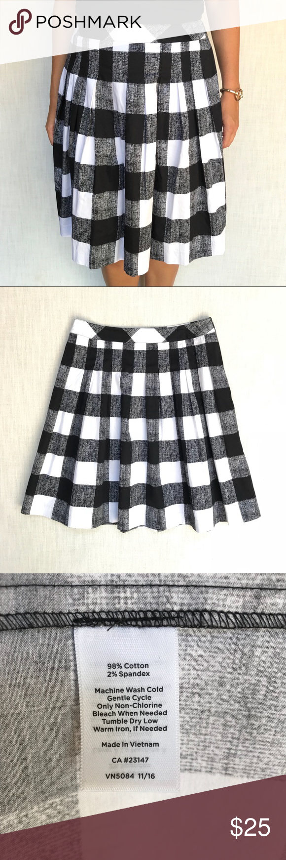 e2d61c01a1cb Talbots Black and White Box Pleated Skirt, A Line Great black and white  checkered, box pleated skirt by Talbots in size 10. This skirt is perfect  for the ...