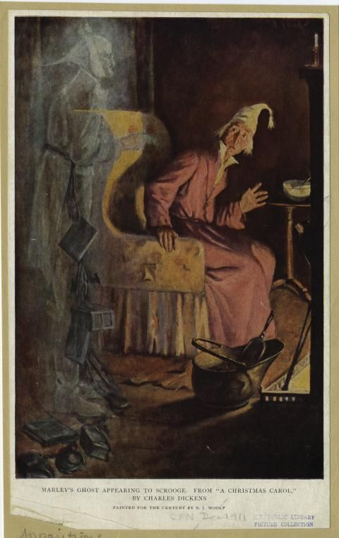 Marley's ghost appearing to Scrooge. (1911) | Dickens christmas carol, Christmas carol charles ...