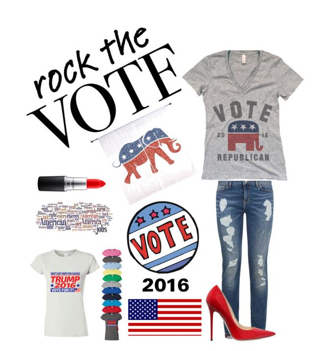 """""""Rock the VOTE....."""" by kotnourka ❤ liked on Polyvore featuring Tommy Hilfiger, Jimmy Choo and MAC Cosmetics"""