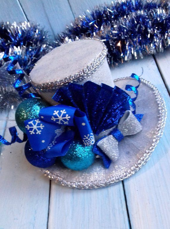 5e03d950c16 Christmas Mini Top Hat Headband Toddler Top Hat Silver Christmas Hat  Christmas Headband Blue Top Hat
