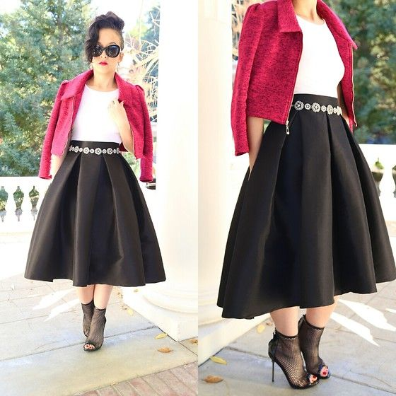 Kt Rcollection Full Skirt, Kt Rcollection Crop Knit Jacket, Brian Atwood Mesh Booties