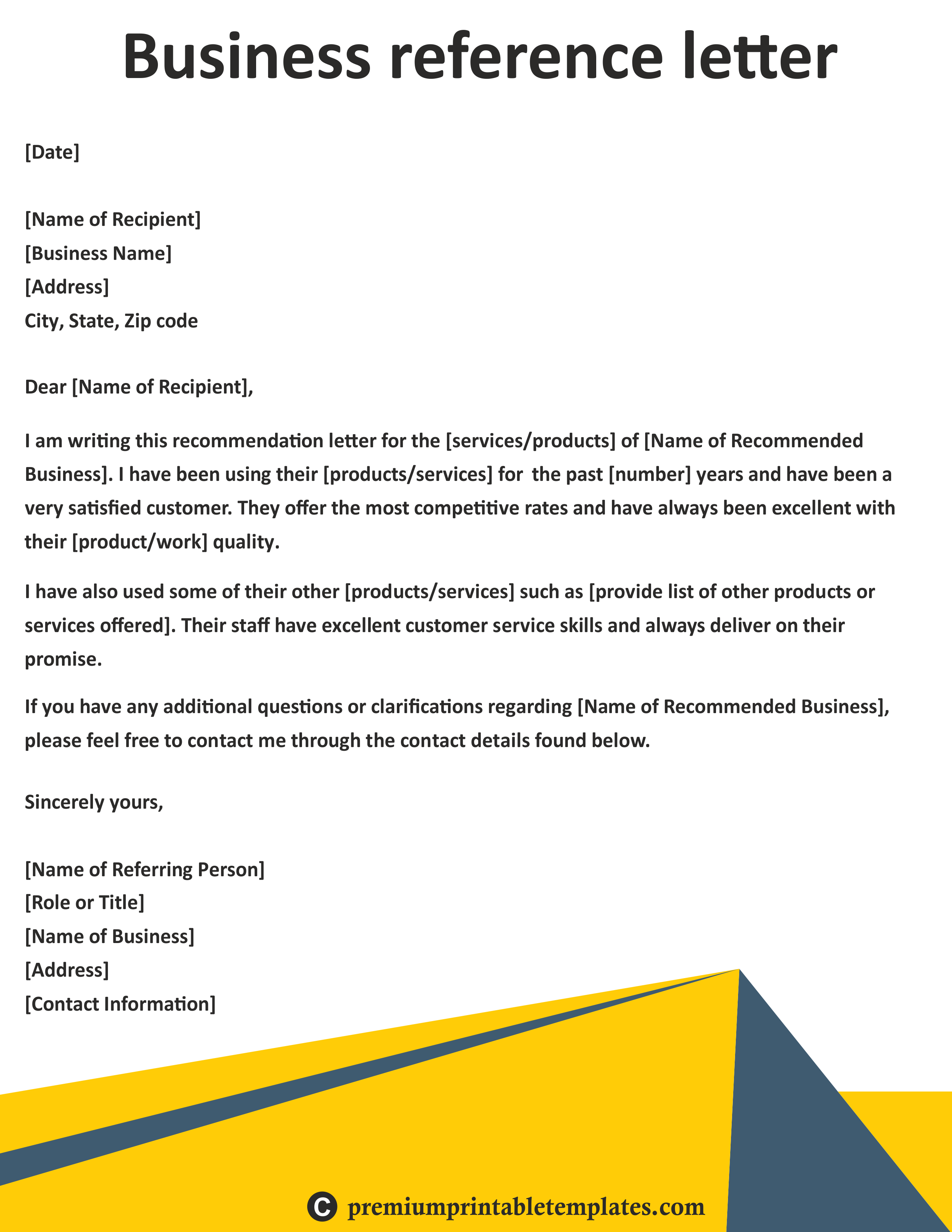 Business reference letter a business reference is a recommendation business reference letter a business reference is a recommendation provided on behalf of a client vendor or other business associate or contact flashek Images