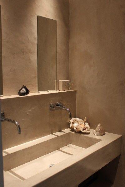 Salle De Bain En Béton Ciré Maison Des Ocres Pinteres - Salle de bain en béton ciré