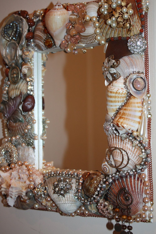 Sea shell jewelry mosaic mirror ocean beach shell for Seashell mosaic art