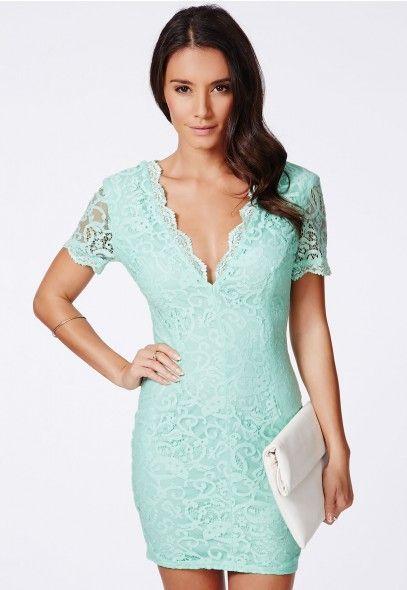Olivia Plunge Neck Lace Mini Dress - Dresses - Lace Dresses - Missguided