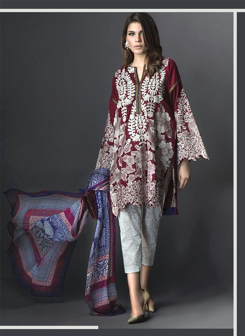 Alluring Embroidered Work Maroon Georgette Designer Suit