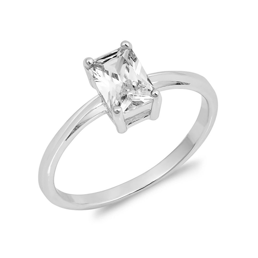 Solitaire wedding engagement ring radiant cut cubic zirconia