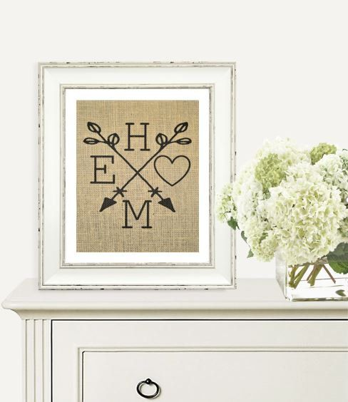 Personalized Home Burlap Print New Home Or Holiday Gift Family Home Arrows Heart