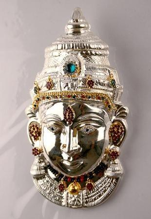 silver Lakshmi devi Roopa | Metal-Brass,Silver | Silver