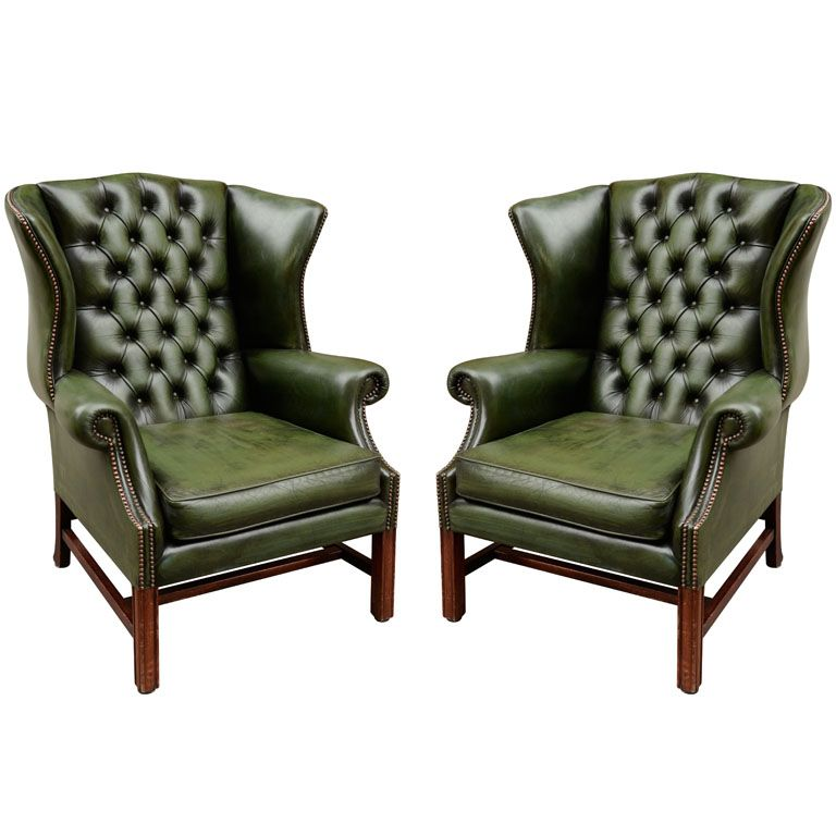 Pair of English Green Leather Wingback Chairs  Objects of