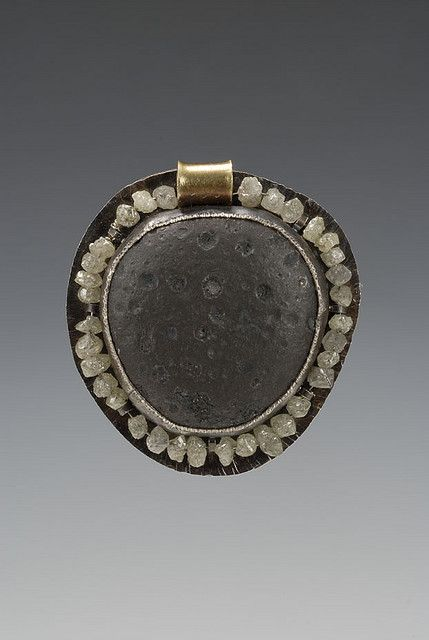 iron pendant, raw diamonds by Shand Stamper, via Flickr