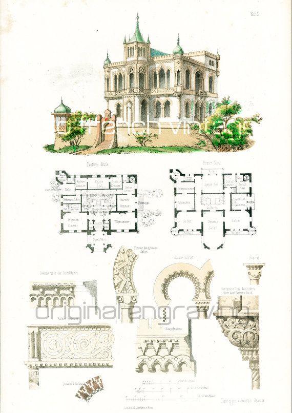 1885 Antique Ornament Coptic Church Authentic Original Engraving RACINET 130 YEARS OLD